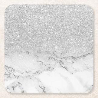 Modern faux grey silver glitter ombre white marble square paper coaster