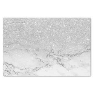Modern faux grey silver glitter ombre white marble tissue paper