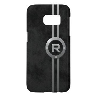Modern Faux Metallic Deco on Mottled Black Samsung Galaxy S7 Case
