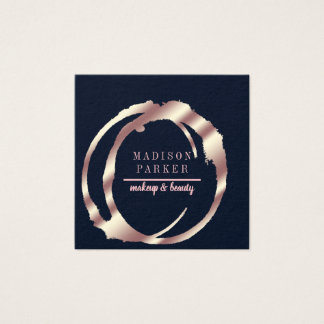 Modern Faux Rose Gold Abstract Square Square Business Card
