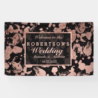 Modern faux rose gold brushstrokes wedding banner