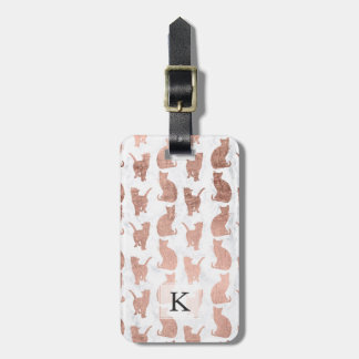 Modern faux rose gold cats pattern white marble luggage tag