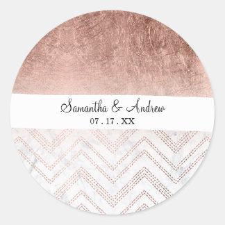Modern faux rose gold chevron sticth ombre pattern classic round sticker