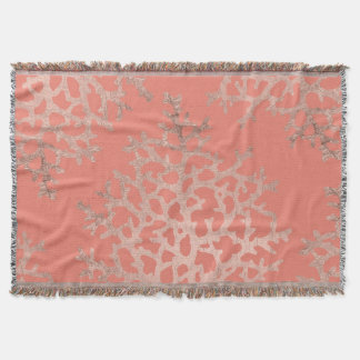 Modern faux rose gold coral sea pattern salmon throw blanket