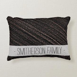 Modern faux rose gold dots confetti black decorative pillow