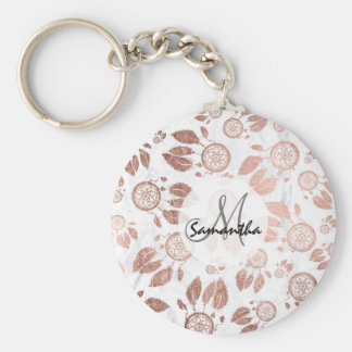 Modern faux rose gold dreamcatcher feathers marble keychain