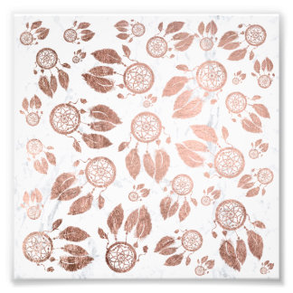 Modern faux rose gold dreamcatcher feathers marble photo print