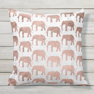 Modern faux rose gold elephants white marble throw pillow