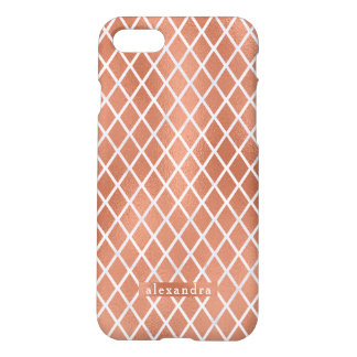 Modern Faux Rose Gold Foil Diamond Pattern iPhone 8/7 Case