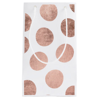 Modern faux rose gold foil hand drawn polka dots small gift bag