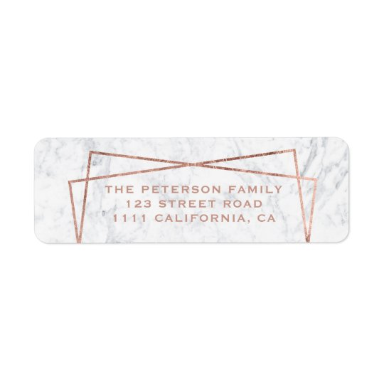 Modern faux rose gold frame white marble return address label