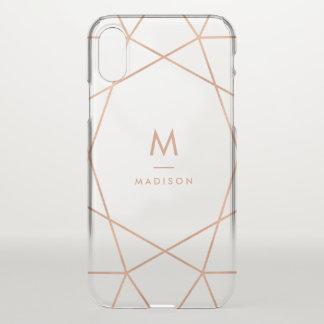 Modern Faux Rose Gold Geometric | Monogram iPhone X Case