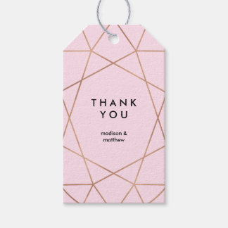 Modern Faux Rose Gold Geometric on Blush Pink Gift Tags