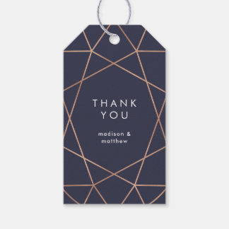 Modern Faux Rose Gold Geometric on Dark Blue Gift Tags