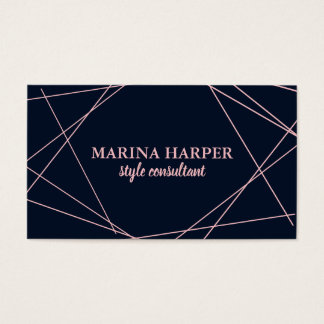 Modern Faux Rose Gold Geometric on Navy Blue Business Card