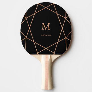 Modern Faux Rose Gold Geometric with Monogram Ping Pong Paddle