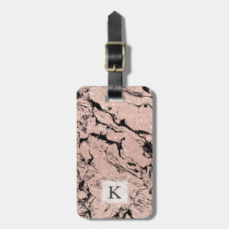 Modern faux rose gold glitter black marble luggage tag