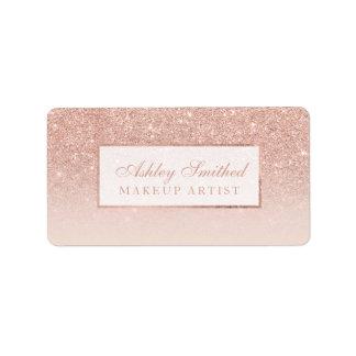 Modern faux rose gold glitter blush ombre makeup label