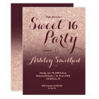 Modern faux rose gold glitter burgundy Sweet 16 Card