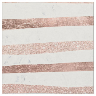 Modern faux rose gold glitter foil marble stripes fabric