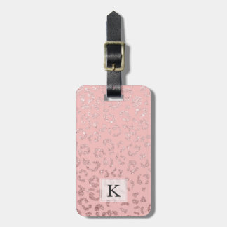 Modern faux rose gold glitter leopard ombre pink bag tag