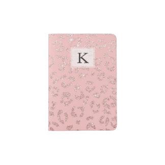 Modern faux rose gold glitter leopard ombre pink passport holder