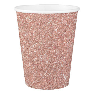 Modern Faux Rose Gold Glitter Lux Paper Cups