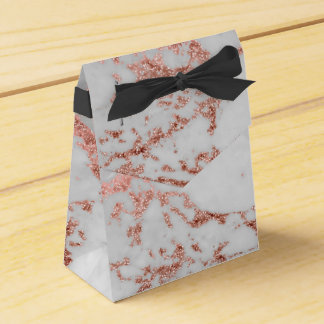 Modern faux rose gold glitter marble texture image favor box