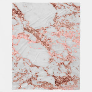 Modern faux rose gold glitter marble texture image fleece blanket