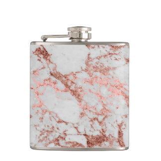 Modern faux rose gold glitter marble texture image hip flask