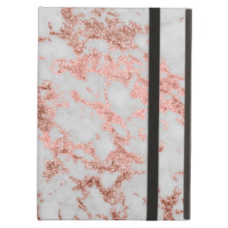 Modern faux rose gold glitter marble texture image iPad air cover
