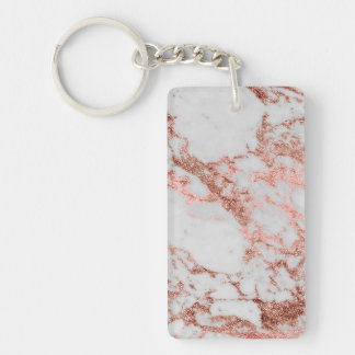 Modern faux rose gold glitter marble texture image keychain