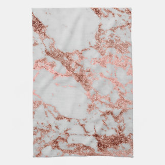 Modern faux rose gold glitter marble texture image kitchen towel