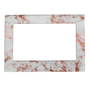 Modern faux rose gold glitter marble texture image magnetic frame