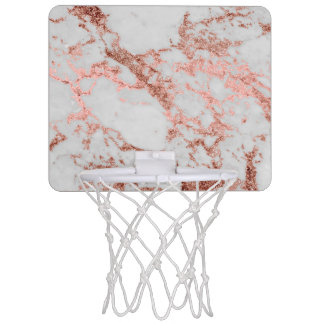 Modern faux rose gold glitter marble texture image mini basketball hoop