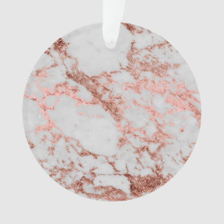 Modern faux rose gold glitter marble texture image ornament