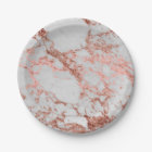 Modern faux rose gold glitter marble texture image paper plate