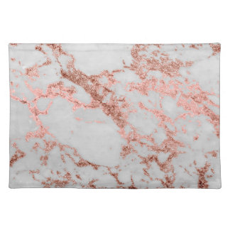 Modern faux rose gold glitter marble texture image placemat