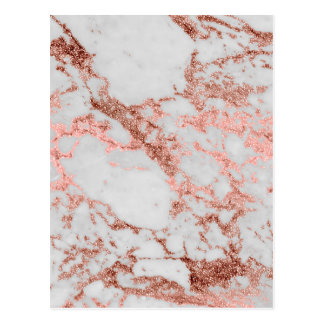 Modern faux rose gold glitter marble texture image postcard