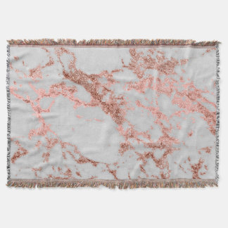 Modern faux rose gold glitter marble texture image throw blanket