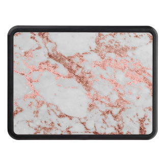 Modern faux rose gold glitter marble texture image trailer hitch cover