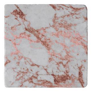 Modern faux rose gold glitter marble texture image trivet