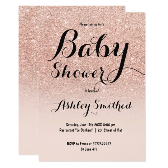 Modern faux rose gold glitter ombre baby shower card