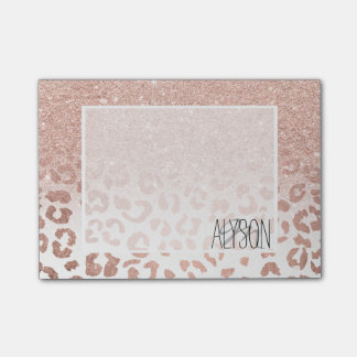 Modern faux rose gold glitter ombre leopard post-it® notes