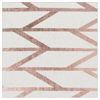 Modern faux rose gold herringbone chevron pattern fabric