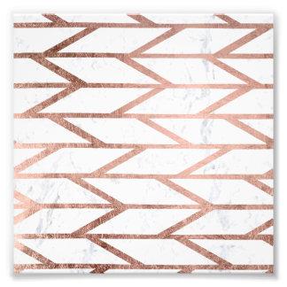 Modern faux rose gold herringbone chevron pattern photo print