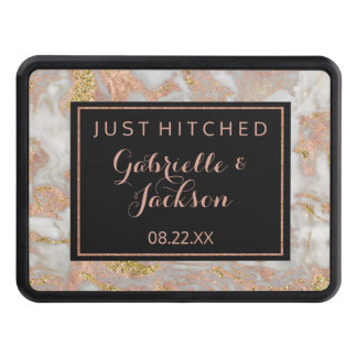Modern Faux Rose Gold Marble Just Hitched Wedding Trailer Hitch Cover