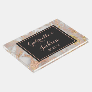 Modern Faux Rose Gold Marble Personalized Wedding Guest Book