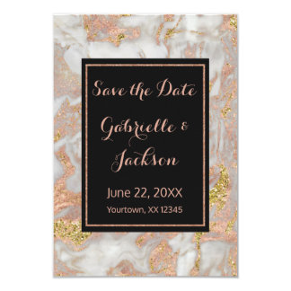 Modern Faux Rose Gold Marble Save The Date Wedding Card