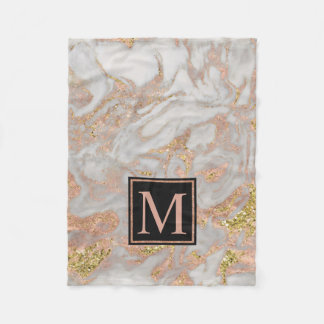 Modern Faux Rose Gold Marble Swirl Monogram Fleece Blanket